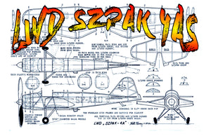 "Full size printed plans Peanut Scale "" LWD SZPAK 4AS ""  flies well in fairly tight left circles"