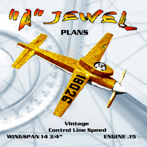 "Full Size Printed Plan   Control Line Speed ""A"" JEWEL 1959 Nat's Winner Engine .15"