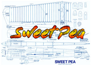 Full Size Printed  Plan Vintage 1972 Control Line .35 Stunter Sweet Pea construction is different but not difficult.