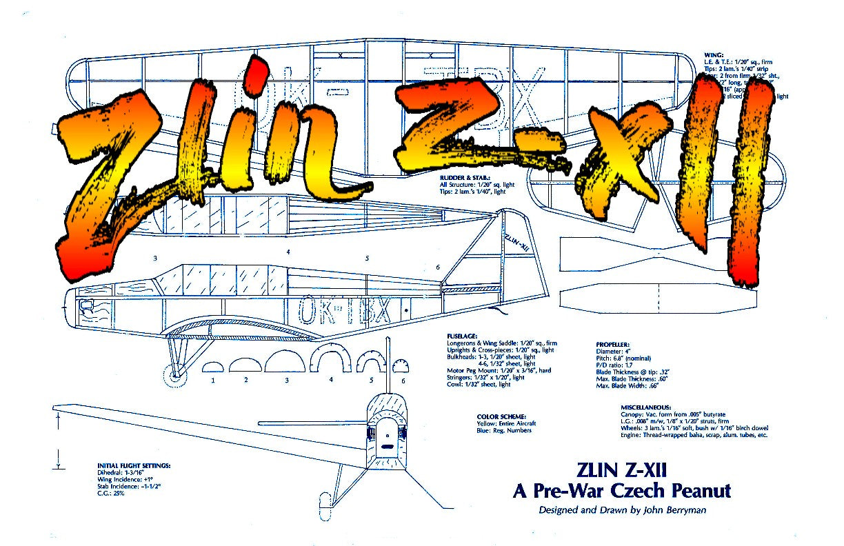 "Full size printed plans Peanut Scale ""Zlin Z-XII"" Ready to try a low wing Peanut"