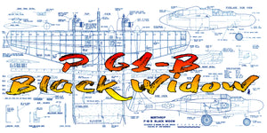 "Full Size Printed Plan Scale 1/16 Profile control line  P 61-B Black Widow Wingspan 49 ½""  Engines Two .19 to .25"