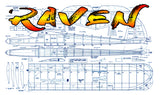 "Full Size Printed Plan Soarer for Slope or Thermal W/S 84"" for Radio Control ""RAVEN"""