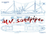 Full Size Printed Plans Cargo Ship M.V. Sandpiper Scale 1:72  Length 40 5/8