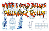 Full size printed plan 0 gauge WHITE & GOLD DELUXE PASSENGER TROLLEY A 1948 PLAN