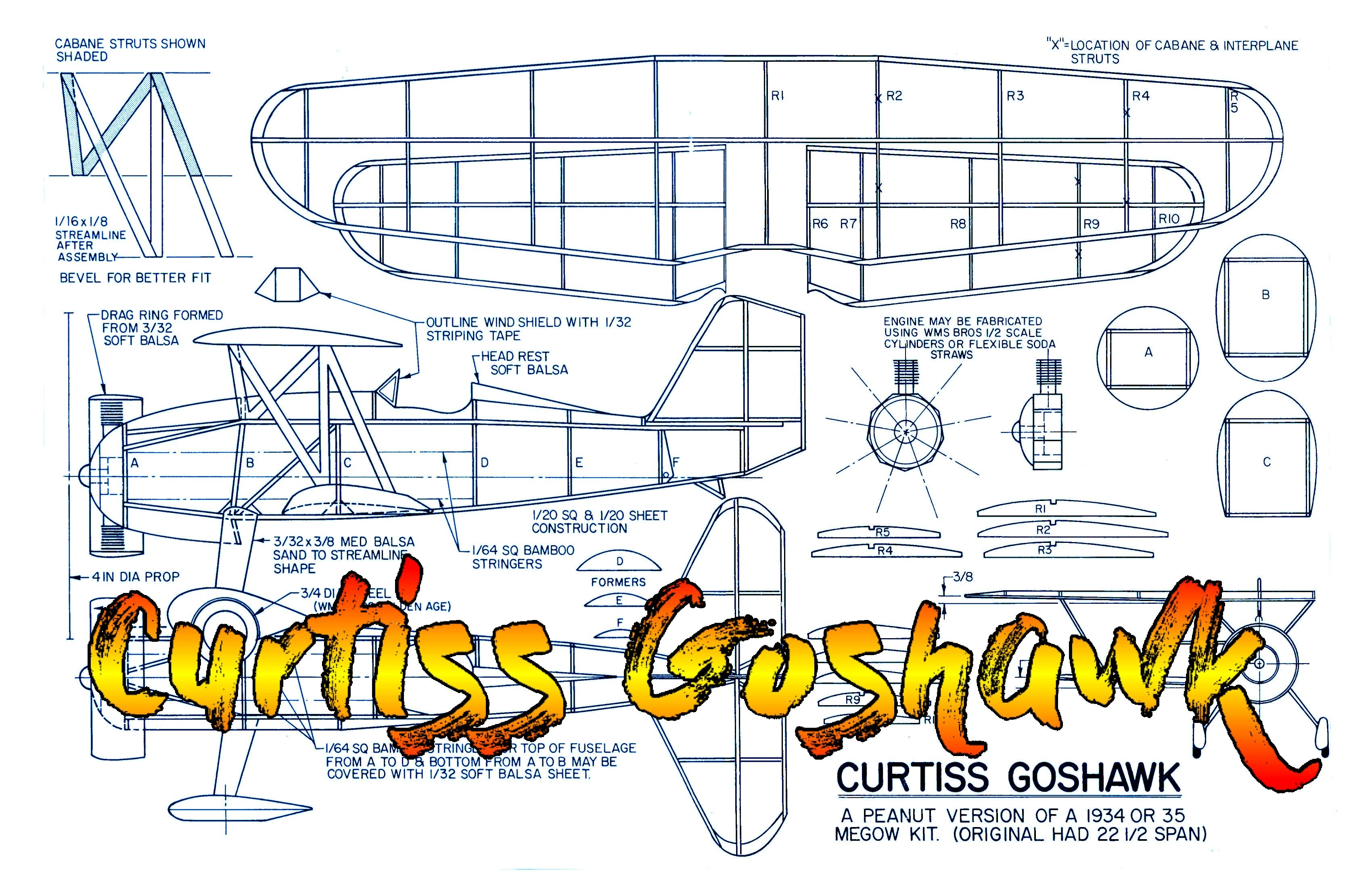 "Full size printed plans Peanut Scale Curtiss Goshawk  a plane with ""character."""