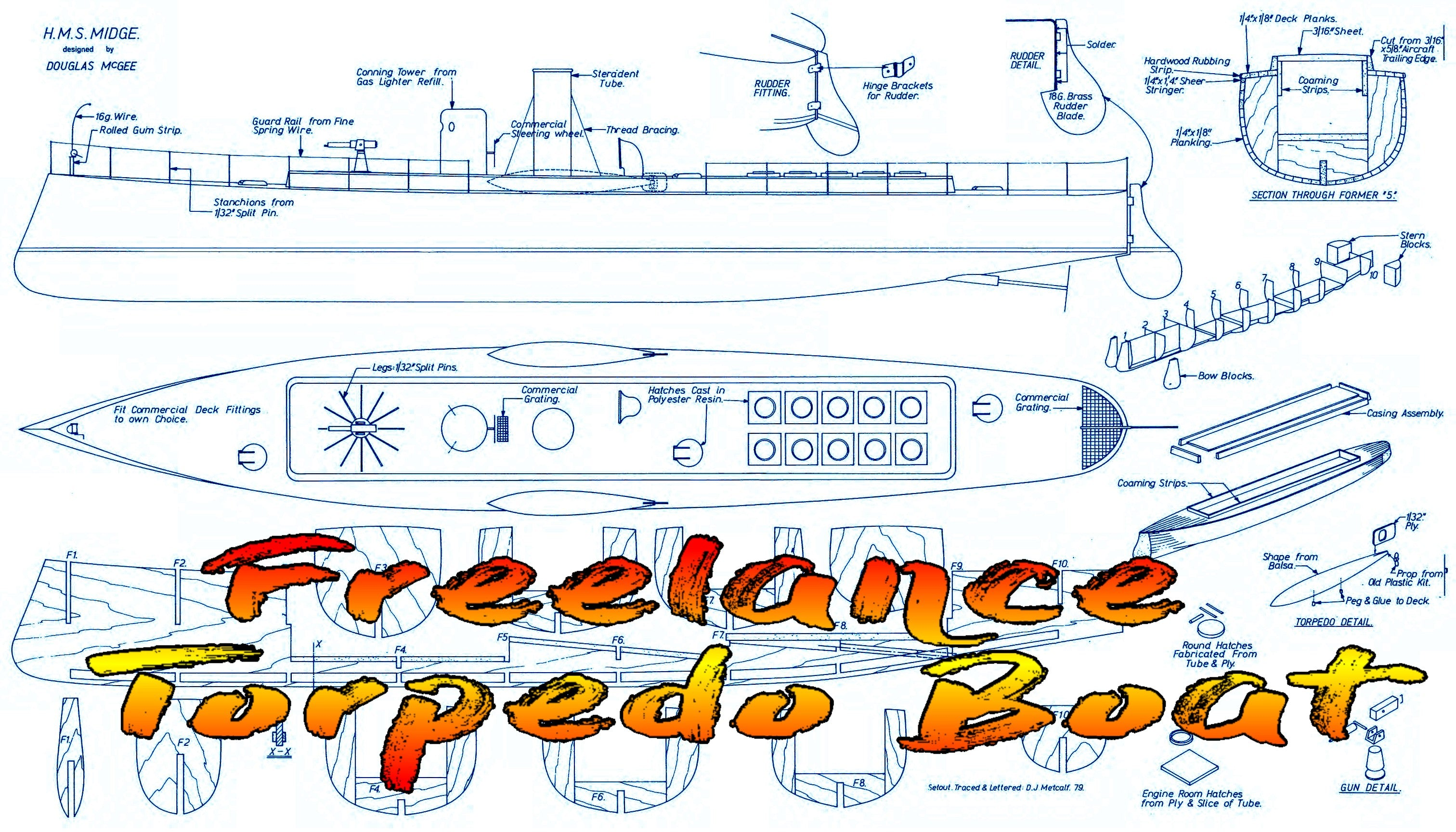 "Full Size Printed Plans Freelance Torpedo Boat L 32"" Suitable for electric power and Radio Control"
