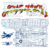 "Full Size Printed Plan CONTROL LINE SCALE 1""=1' WINGSPAN 23"" Al Williams  GULFHAWK Grumman G-22"
