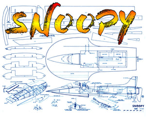"Full Size Printed Plan 1968 record breaking hydro ""SNOOPY"" L 28"" B 13 3/8""  Engine .19 for Radio Control"