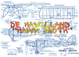 "Full Size Printed Plans DE HAVILLAND ""HAWK MOTH"" Scale 1:12 (1""=1ft)  Wingspan 44""  Power Rubber"