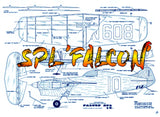 Full Size Printed Plan vintage 1968 Goodyear Profile Class Control Line  SPL 'FALCON'