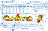 "Full size printed plans control line Stunter Cobra 7 56"" span .46 engine  classic ""I""-beam stunter"
