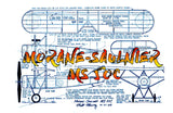 "Full size printed plans Peanut Scale ""MORANE-SAULNIER MS 5OC""  interesting parasol-winged light plane that's sure to please ."