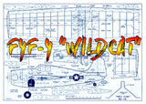 "Full Size Printed Plan CONTROL LINE  F4F-4 ""WILDCAT"" STUNT or COMBAT  SCALE PROFILE"