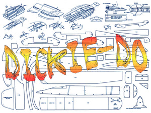 "Full Size printed plans L 20"" outboard racing hydroplane DICKIE-DO for Radio control"
