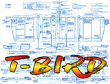 "Full Size Printed Plan vintage  'T-BIRD' 1972 32 ¼"" Wingspan  Engines .15  'three-in-one' combat design"