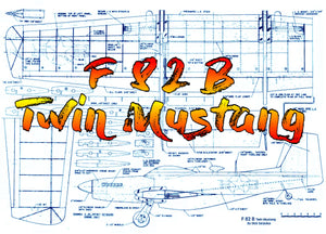 Full Size Printed Plan semi‑scale profile control line stunter F 82 B Twin Mustang