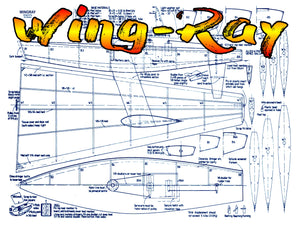 "Full Size Printed Plan for Radio Control ""Wing-Ray""  a rigid 'wing' to racing model Sailboat"