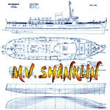 "Full size printed plan Passenger Ferry M.V. SHANKLIN Scale 3/16""=1' suitable forRadio Control"