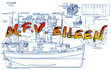 "Full Size Printed Plans inshore fishing boat M.F.V. EILEEN Scale 1/2"" Suitable for Radio Control"