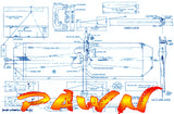 "Full Size Printed Plan & Building Notes 1/2A combat *PAWN* Wingspan 28""  Engine 1/2A"