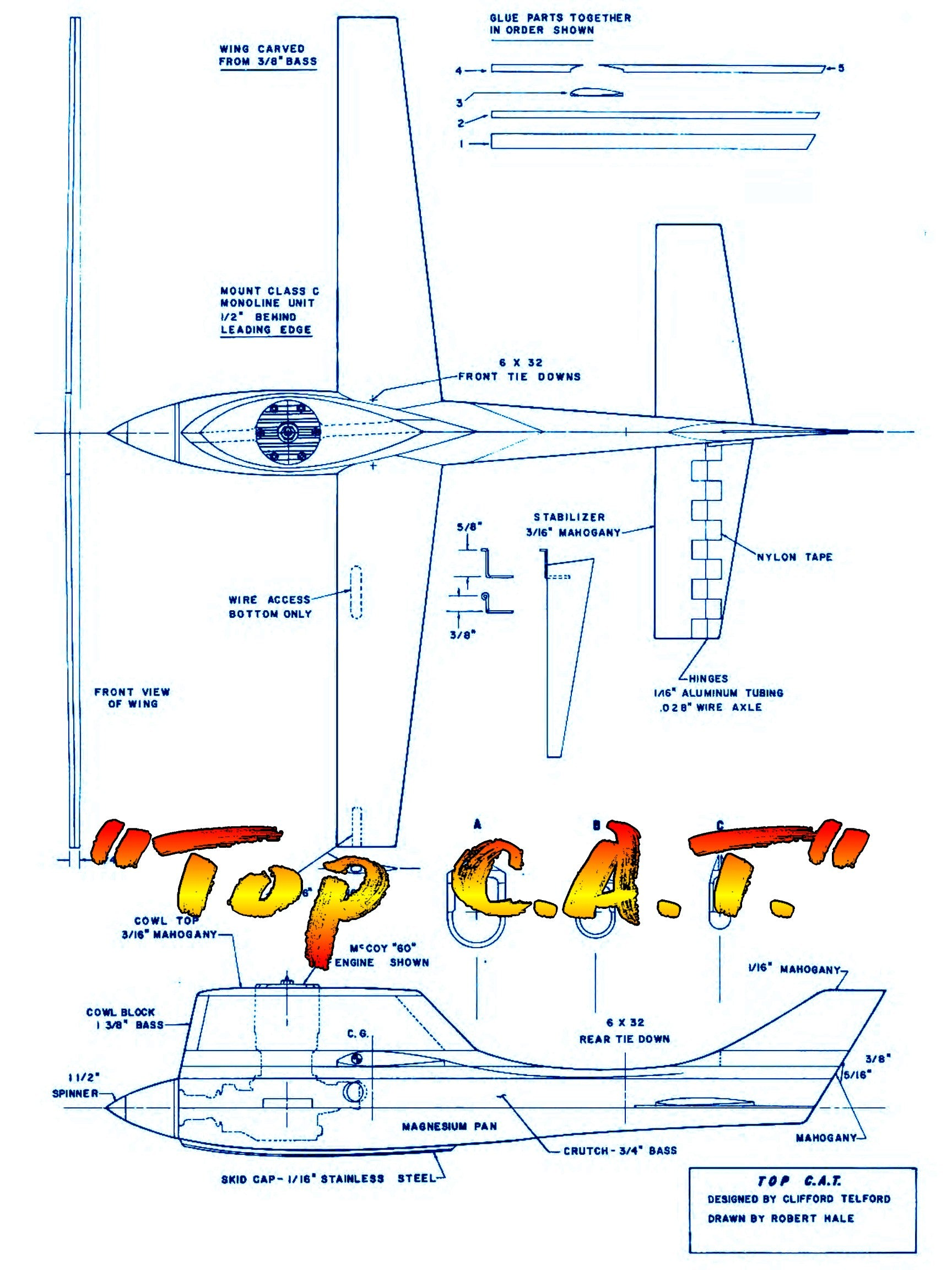 "Full Size Printed Plan  Control Line Class C Speed ""Top C.A.T."" SIXTIES WINNINGEST"