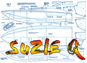 "Full Size Printed Plan Vintage 1965 semi-scale offshore power boat racer ""SUZIE Q"" for Radio Control"