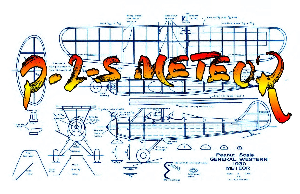 "Full size printed plans Peanut Scale ""GENERAL WESTERN P-2-S METEOR"" Here's a model that should fly well no matter what size you build it."