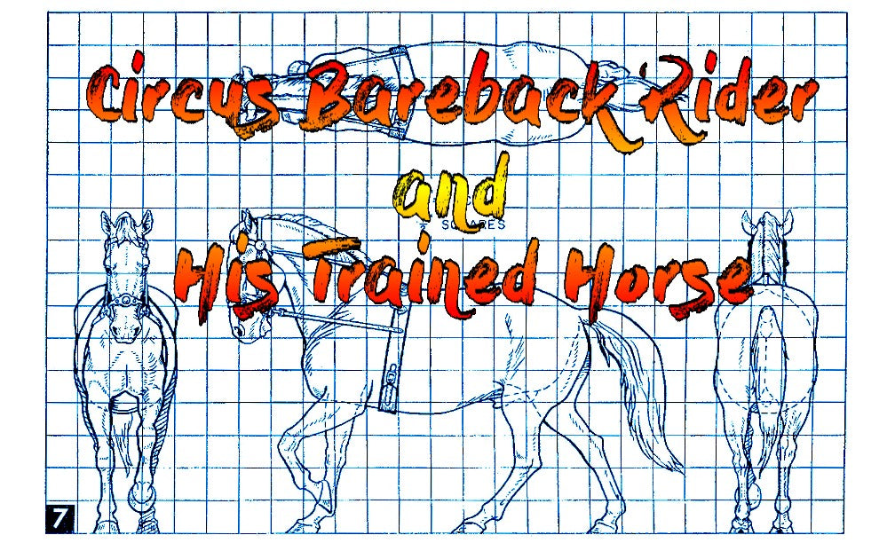 Full size printed plan Carving a  Circus Bareback Rider and His Trained Horse