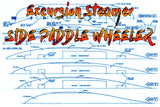 Full Size Printed Plan for a excursion steamer side paddle  power Steam or electric suitable for radio control