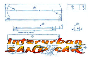 Full size printed plan O GAUGE Interurban SAND CAR  A 1947 PLAN