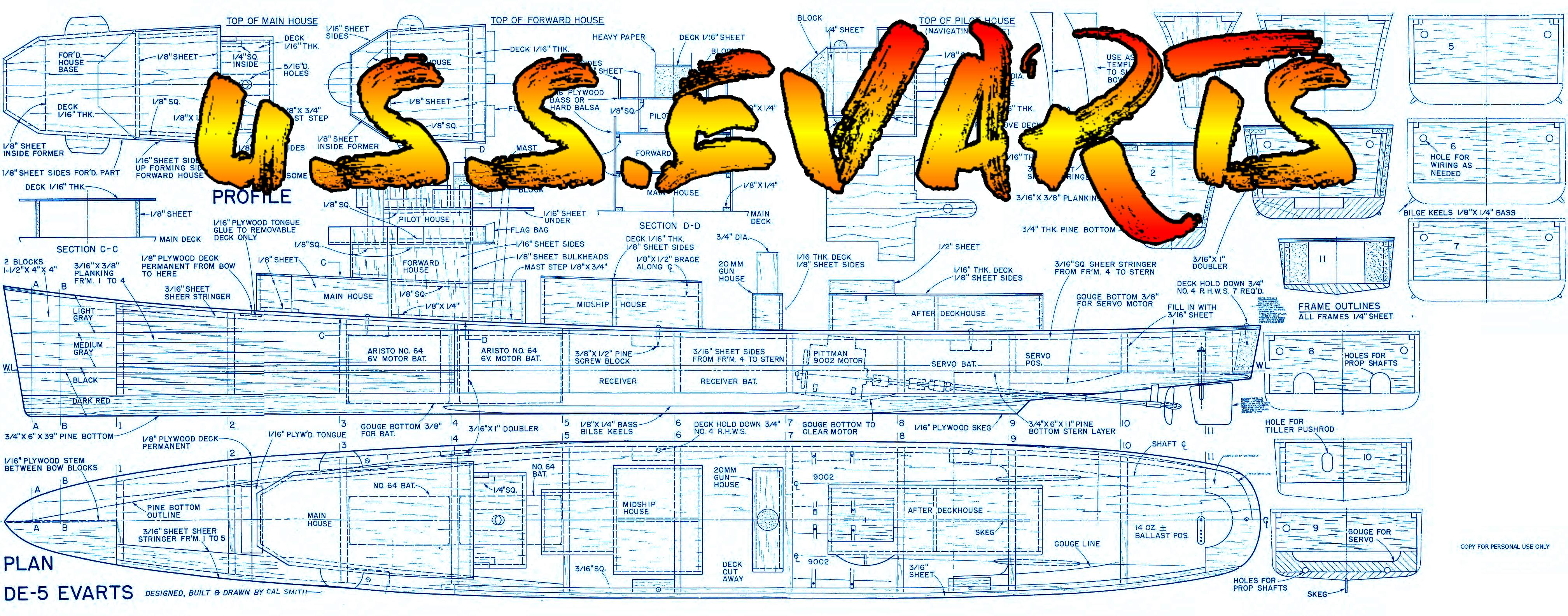 Full Size Printed Plan to build a Scale U.S.S. Evarts  Destroyer Escort Suitable for Radio Control