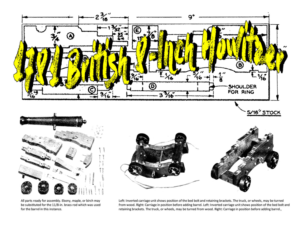 Printed Plans and Article Miniature Eighteen-Pounder Scale 1:12 Overall  length 8 1/2