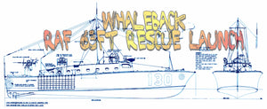 "Full size Printed Plans Scale 1:24 L 31 1/2"" WHALEBACK  RAF 63ft Rescue Launch"