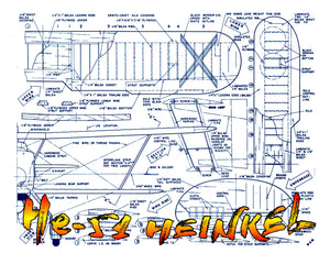 "Full Size Printed Plans Scale 1""= 1 foot Control Line He-51 Wingspan 36""  Engines .29 to .49"