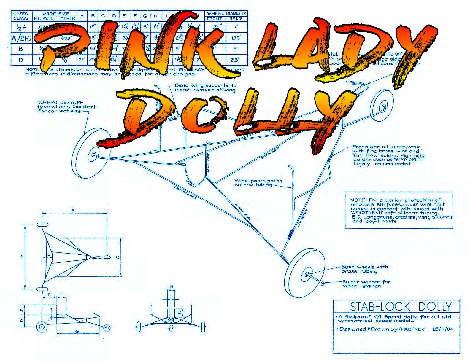 "Full Size Printed Plan Control Line Speed PINK LADY CLASS  'A' WINGSPAN 24""   ENGINE .15"
