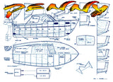 "Full size Printed Plan Outboard or Inboard 13"" & 19"" cabin cruiser suitable for Radio Control"