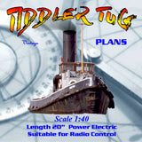 Full Size Printed plans to Build a 1:40 scale WW II T.I.D. tug suitable for R/C