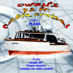 Full Size Printed Plans scale model of the Owens, 42 ft. cabin cruiser Suitable for radio control or light beam remote control