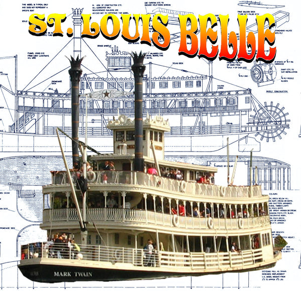 "Mississippi stern wheeler 33"" St. louis belle 1:64 scale Full Size Printed plan for Radio control or display"