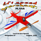 Full Size Printed Plan  1/2 A Control Line Speed  Lil'Speed Merchant. easy to build Wingspan 9'