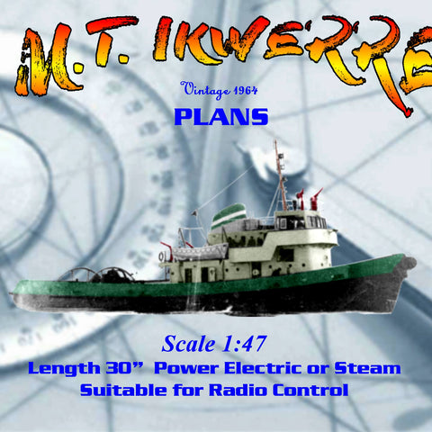 Full size Printed Plans Scale 1/47.2. Thornycroft fire boat tug  Suitable for Radio Control