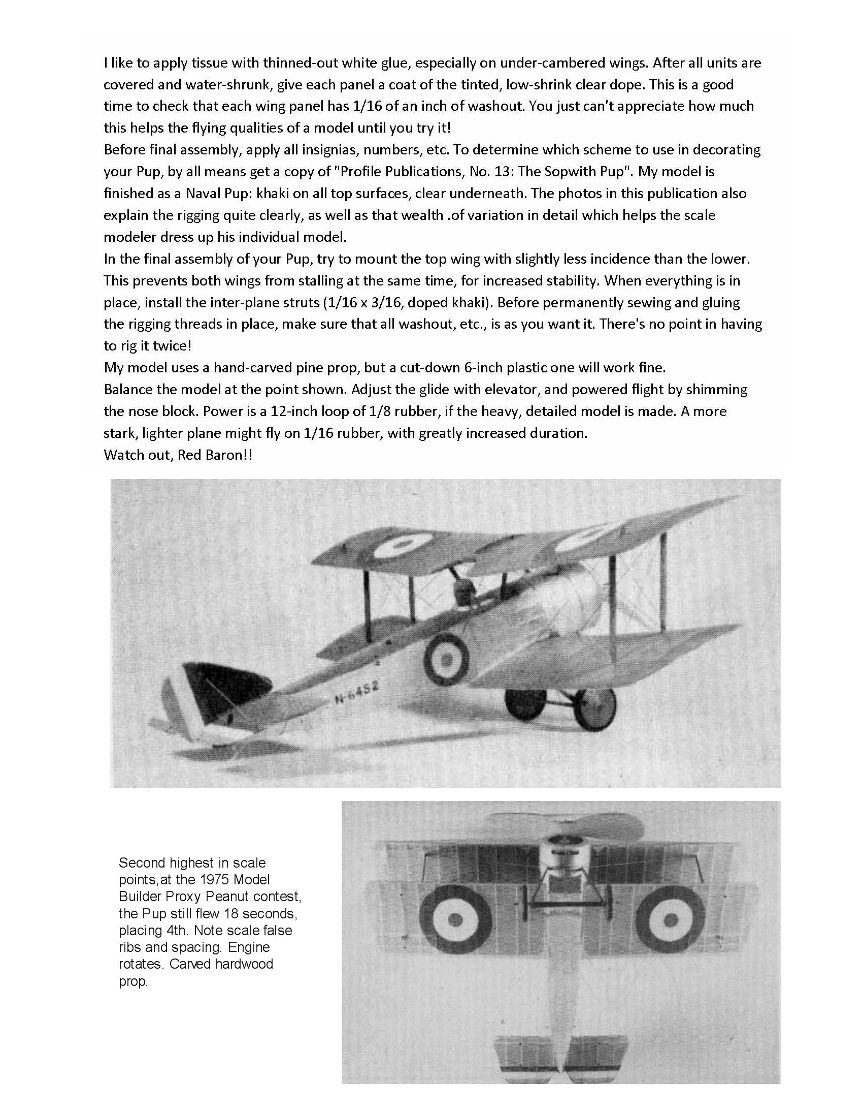 "Full size printed plans Peanut Scale ""SOPWITH PUP"" show almost exact scale structure,"