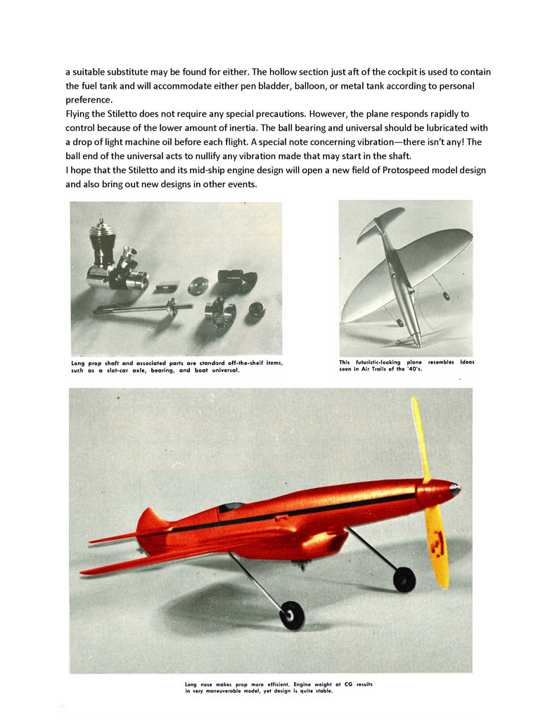 "Full Size Printed Plan 1/2 A Proto Control Line Speed STILETTO Wingspan 14""  Engine  049"