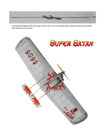 Full Size printed Plans Control Line Combat Engine .36 Super Satan top combat competition.