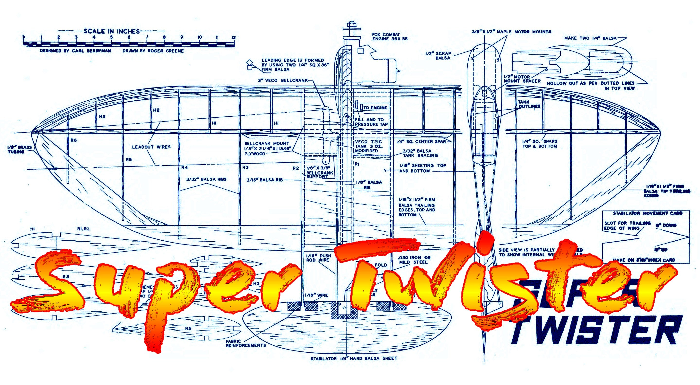 "Full Size Printed Plan & Building Notes COMBAT **Super Twister** Wingspan 36""  Engine .35"