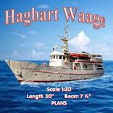 "Full size printed plans Sea Rescue Hagbart Waage Scale 1:30  Length 30"" Suitable for Radio Control"