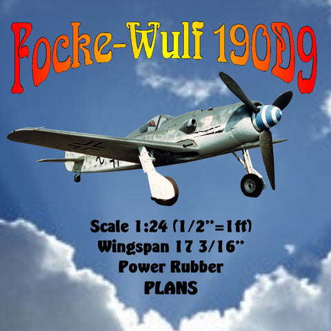 "Full size printed plan and Building notes Focke-Wulf 190D9 Scale 1:24 (1/2""=1ft)  Wingspan 17 3/16""  Power Rubber"