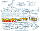 "Full size Printed Plans Harbour Defence Motor Launch Scale 1:24  L 36"" Suitable for radio control"