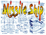 "FULL SIZE PRINTED PLANS Scale 1:72 Missile Ship Length 48""  Beam 7"" Suitable for Radio control"