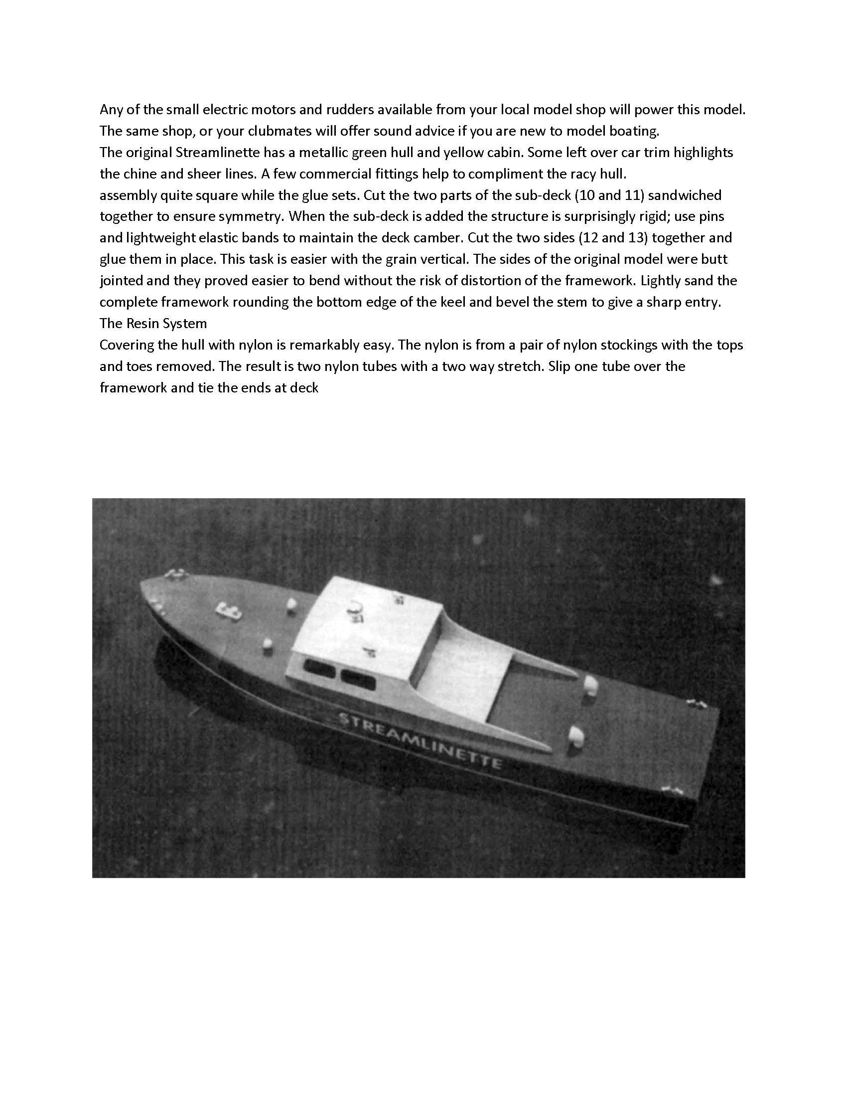 "Full Size Printed Plans for 18 1/2"" model boat Streamlinette suitable for small R/C"